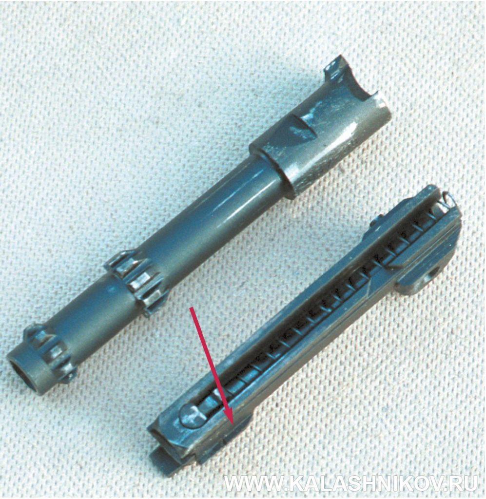 Ствол и боевая личинка пистолета ГШ-18.  Журнал Калашников