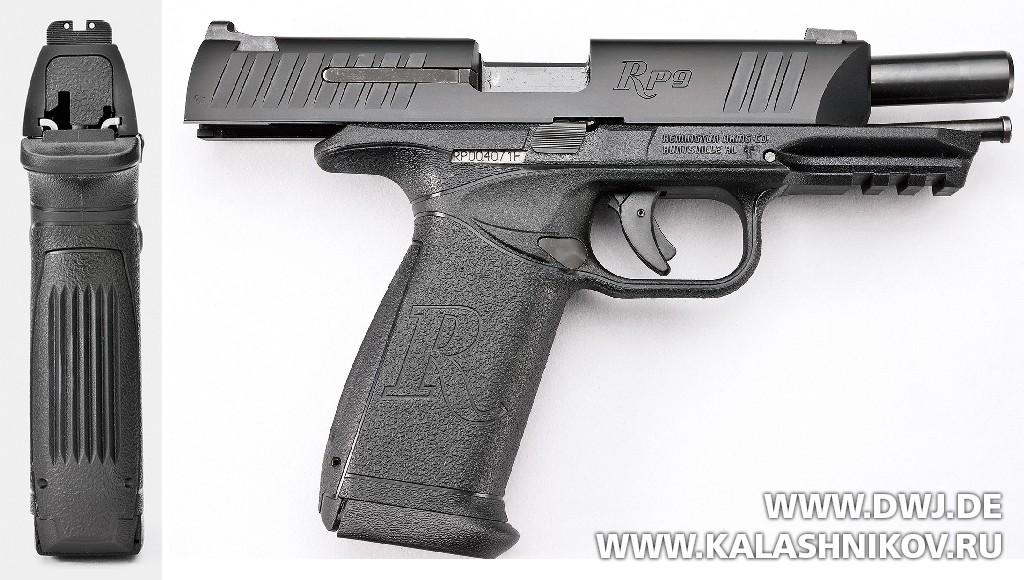 Пистолет Remington RP9. Вид сзади и на затворной задержке. Журнал Калашников