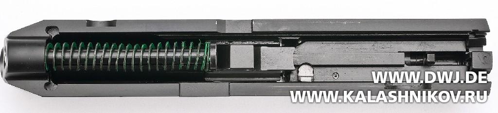 Пистолет Remington RP9. Вид снизу на затвор. Журнал Калашников
