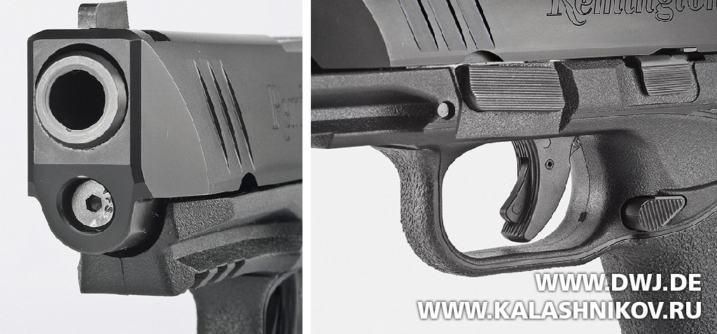Пистолет Remington RP9. Вид спереди на затвор. Предохранитель. Журнал Калашников