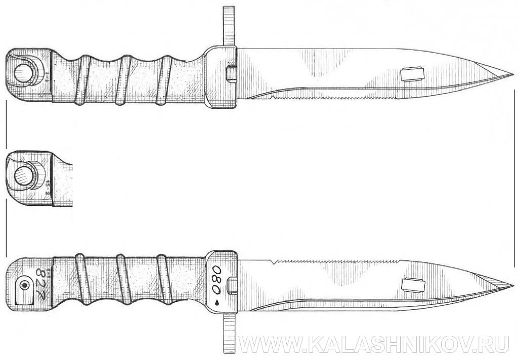 Штык-нож 6Х5, вариант 3 для автомата Калашникова. Журнал Калашников