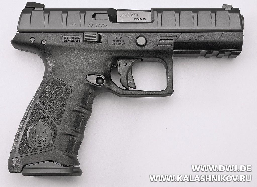 Пистолет Beretta APX. Вид справа. Журнал Калашников. DWJ