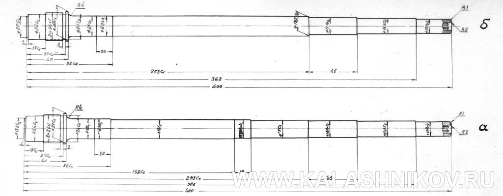 Чертёж ствола к автомату Калашникова АК-47 №1. Журнал Калашников