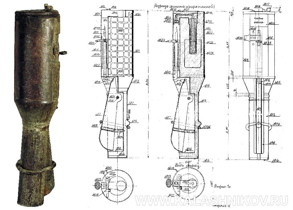 Общий вид и схема устройства гранаты образца 1914 года. Журнал Калашников