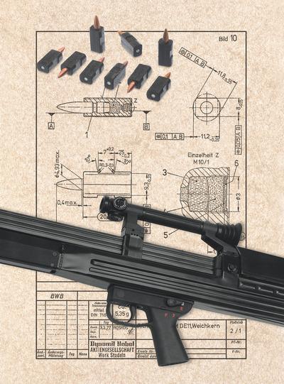 Винтовка G11 и чертеж патрона 4.7мм. Журнал Калашников