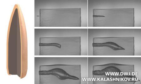 Поведение пули вбаллистическом желатиновом блоке. Журнал Калашников