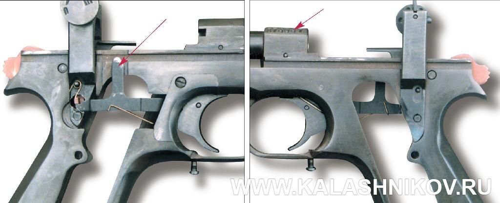 Пистолет МЦМ. УСМ и рамка пистолета. Журнал Калашников