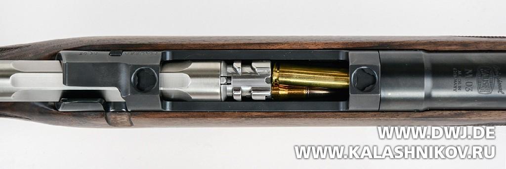 Винтовка Mauser М03. Вид на головную часть затвора и систему досылания