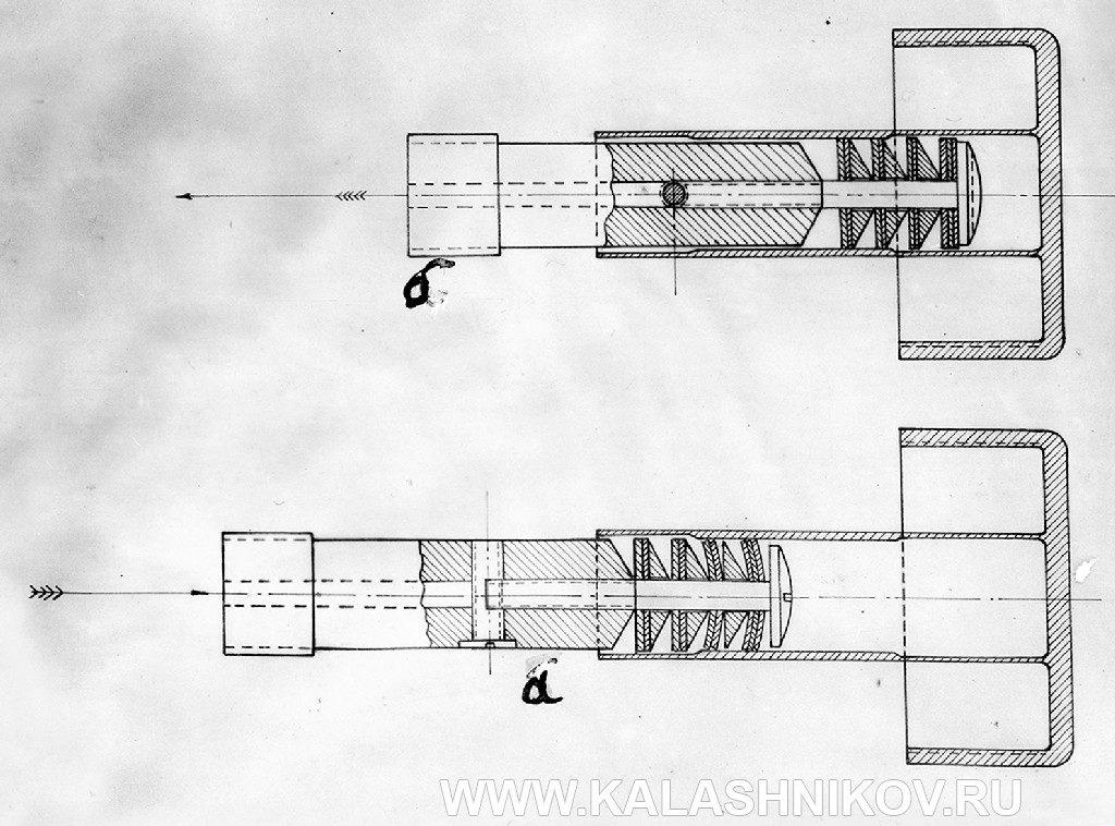 Эскиз пневматического замедлителя темпа стрельбы пистолета-пулемёта Дегтярёва III варианта