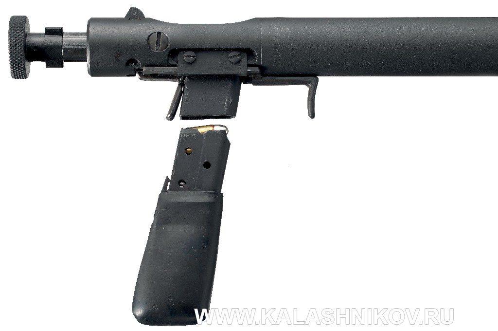 Бесшумный пистолет Welrod Mk. IIa с отомкнутым магазином
