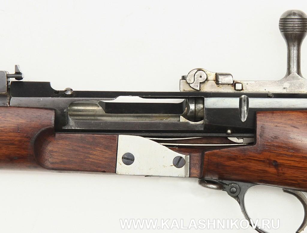 4,2-лин. магазинная переделочная винтовка конструкции Бердана-Игнатовича 1886г. Вырез на стороне ложи