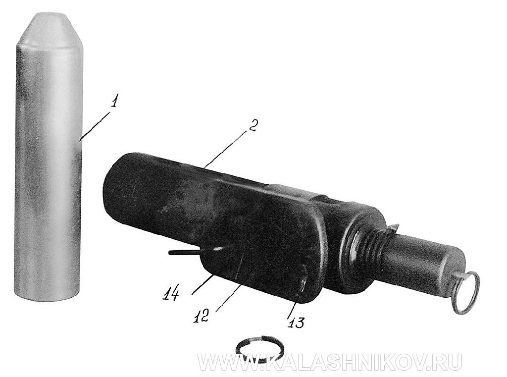 Реактивный целеуказательный патрон и пусковое приспособление. Опытный образец 1959 г.