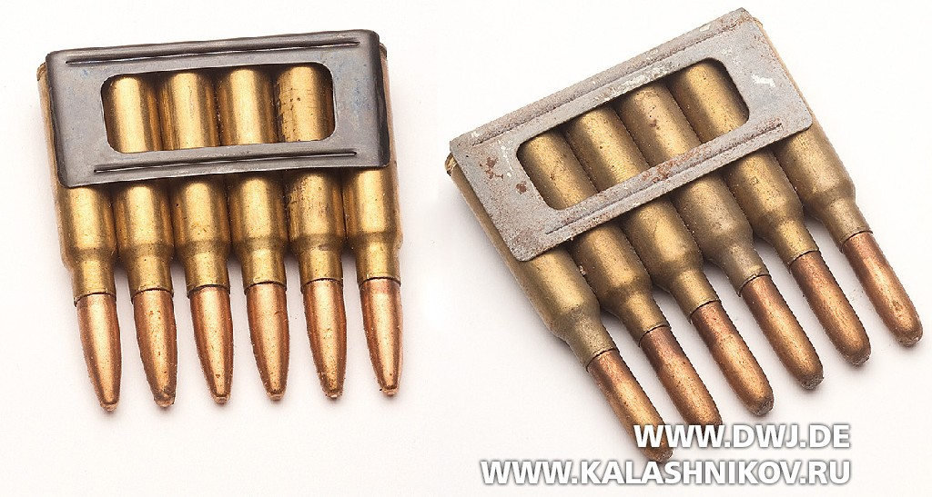 Пачки спатронами 6,5 mm Carcano и7,35 mm Carcano