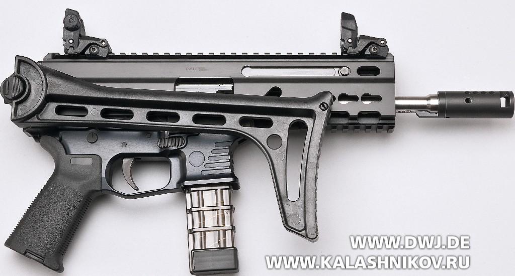 Пистолет-карабин Stribog SP9 A1 со сложенным прикладом