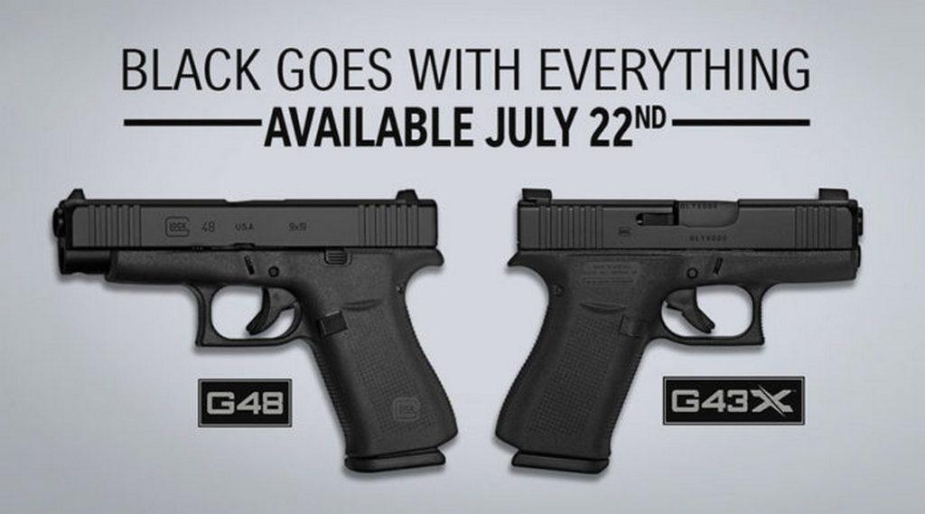 Glock G43X, Glock G48, черный цвет, пистолет, Глок