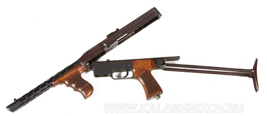 Пистолет-пулемёт Калашникова 1942 г. враскрытом виде