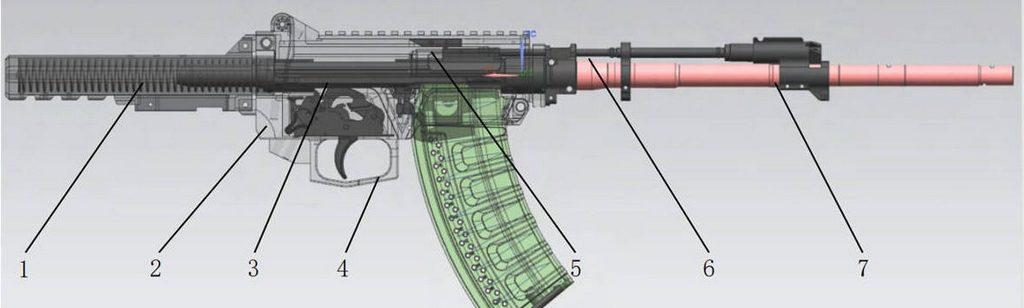 QBZ-191, схема работы, разрез, китайская штурмовая винтовка