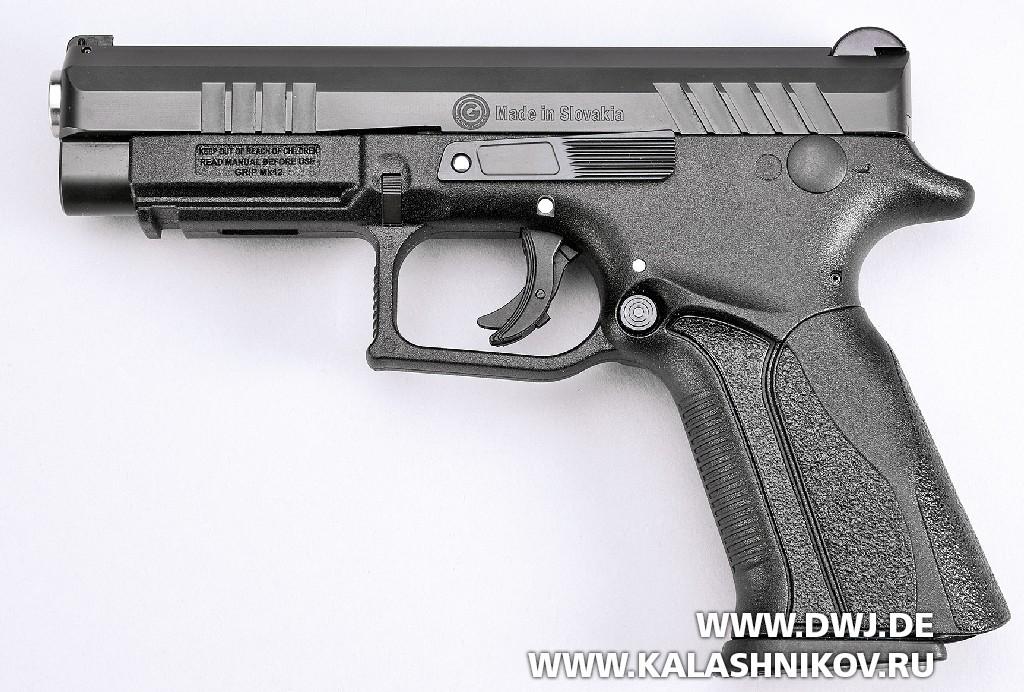 Пистолет Grand Power Q-100. Вид слева
