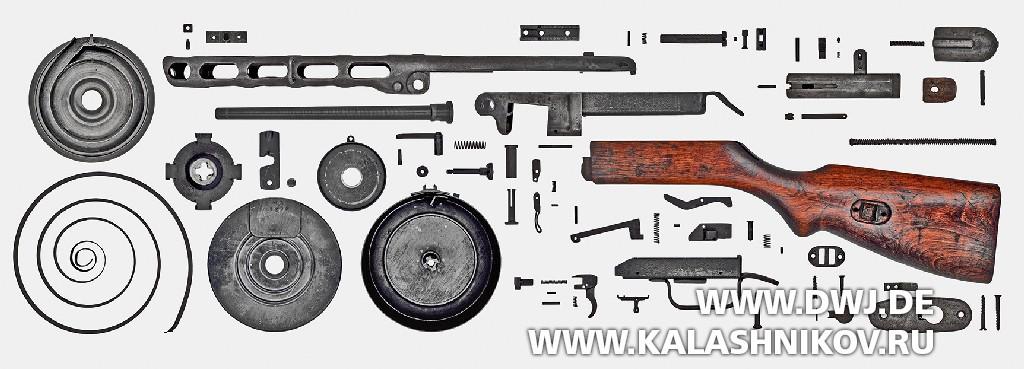 Полная разборка пистолета-пулемёта ППШ-41 сбарабанным магазином