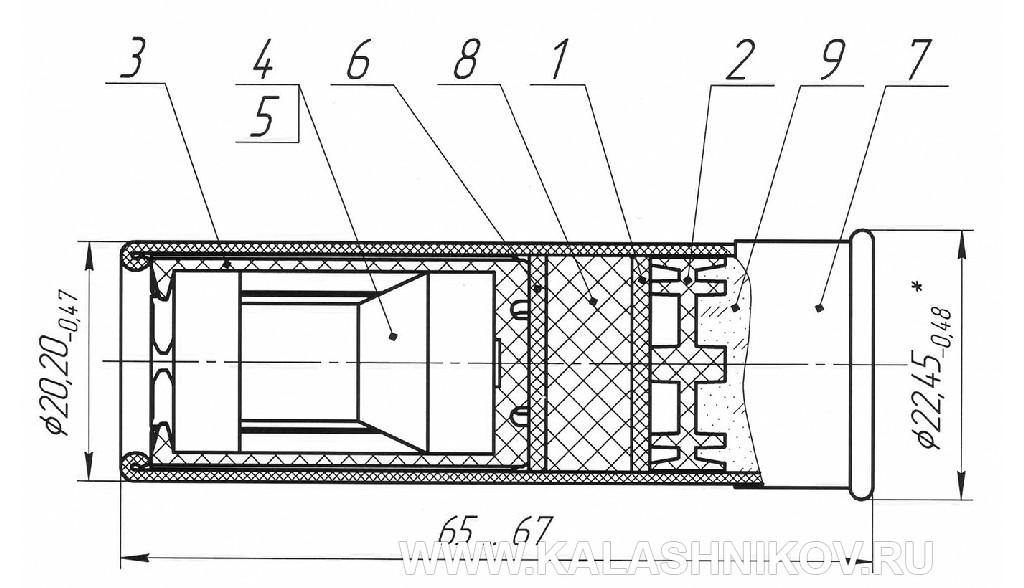 чертеж патрона 12х70 «Техкрим» «Ленинградка» второго поколения («Л-2»)