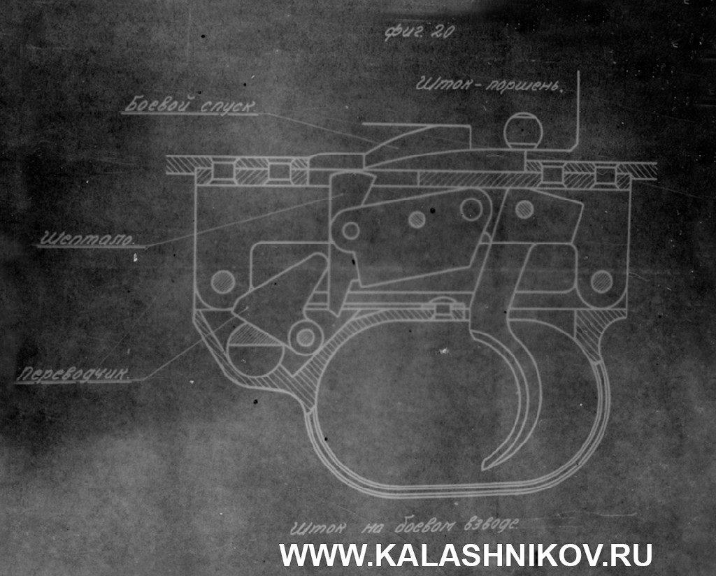 Схема спускового механизма ППК (пистолета-пулемёта Коровина)