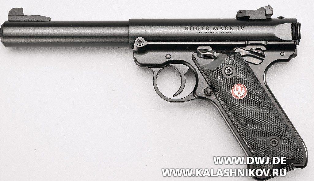 Спортивный пистолет Ruger MarkIV. Вид слева