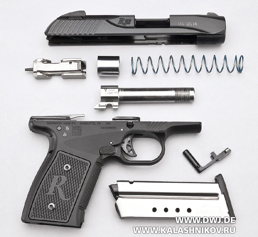 Пистолет Remington R51. Неполная разборка