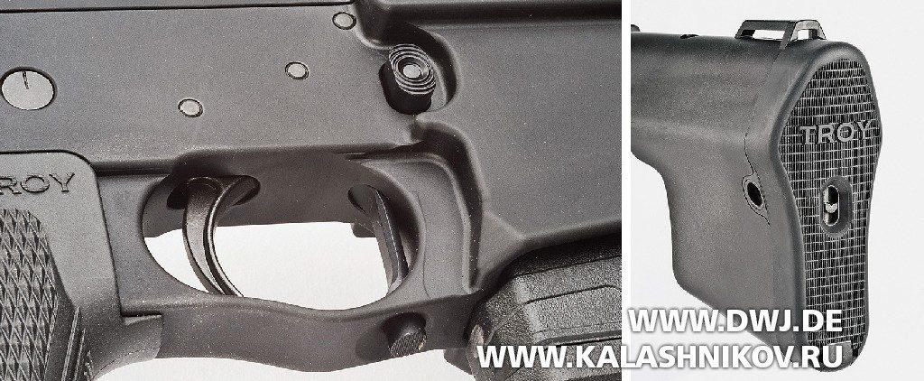 «Помповая» AR-10. Винтовка Troy PAR Sporting. Кнопка фиксатора магазина и приклад