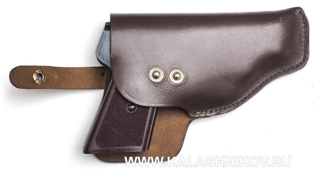 Бесшумный пистолет «Гроза» С-4М в кобуре