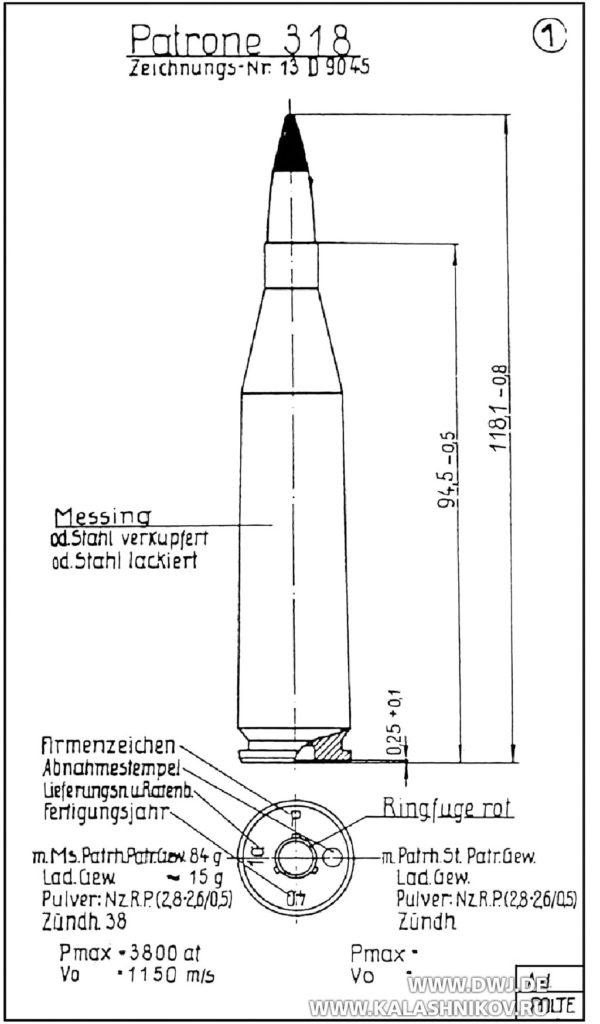 Схема патрона 318 для противотанковых ружей