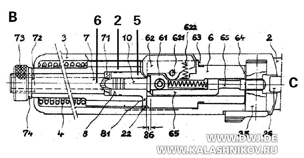 Схема самозарядного пистолета Карнера