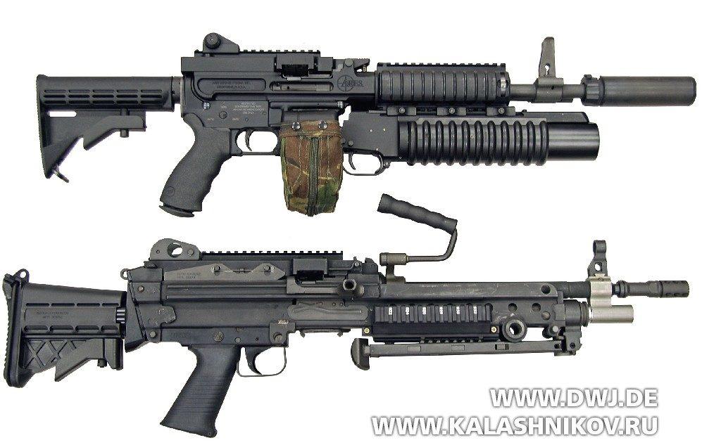Ручной пулемёт SHRIKE 5,56TM. в сравнении с  M249 SAW