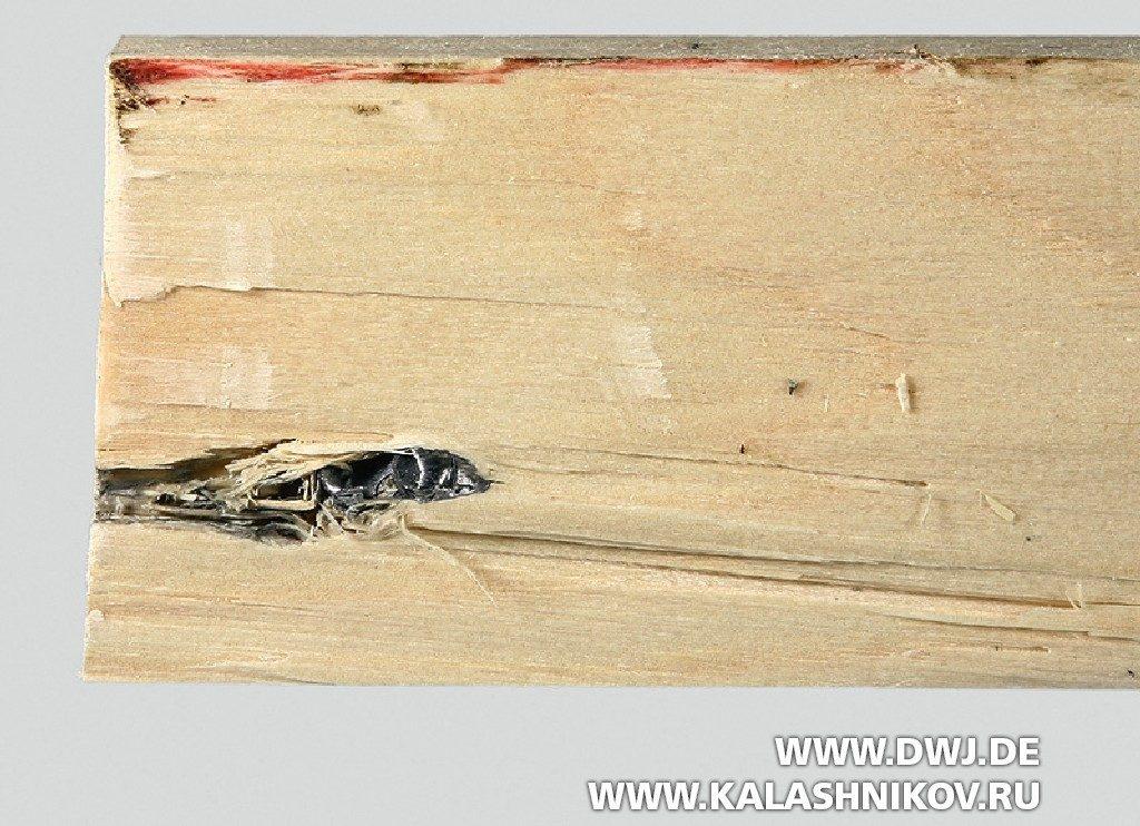 Сравнение патронов 6,35 mm Browning и .22 l.r. High Speed с помощью соснового бруса. Фото 3
