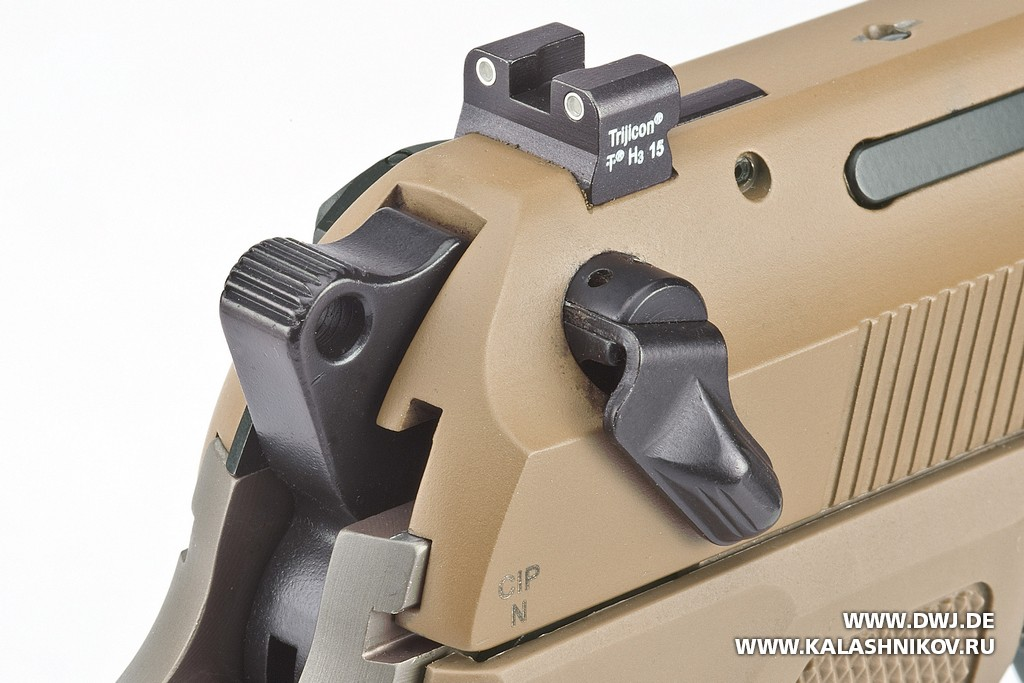 Beretta M9А3, целик, курок, предохранитель